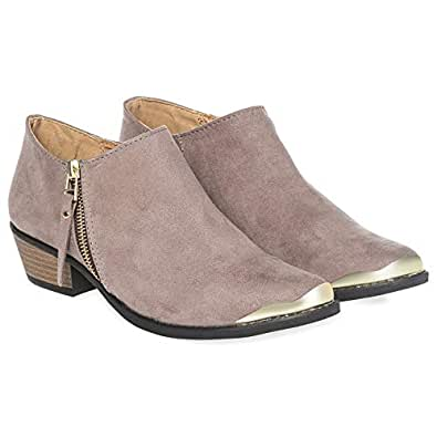 Qupid Heeled Boots for Women - Taupe