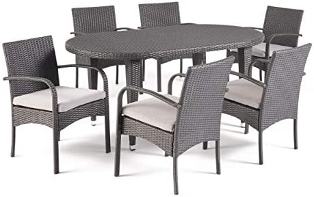 Christopher Knight Home Bunny Outdoor 7 Piece Grey Wicker Oval Dining Set