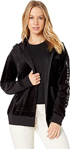 Juicy Couture Women's Track Velour Juicy Gothic Beachwood Jacket Pitch Black ()