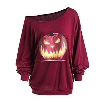GREFER Halloween Costumes Women Women Tops Plus Size Sweatshirts Long Sleeve Angry Pumpkin Printed Skew Neck Blouse