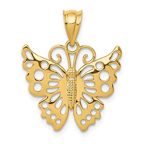 14k Yellow Gold Butterfly Pendant Charm Necklace Animal Fine Jewelry For Women Gift Set