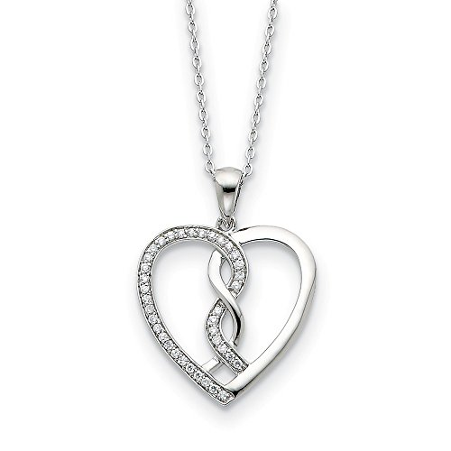 925 Sterling Silver Cubic Zirconia Cz Hearts Joined Together 18 Inch Chain Necklace Pendant Charm S/love Inspirational Fine Jewelry Gifts For Women For Her