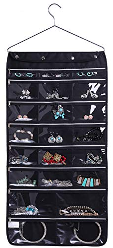 Misslo 44 Pockets Oxford Hanging Jewelry Organizer with Zipper Hanger