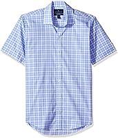 Amazon Brand - BUTTONED DOWN Men's Slim Fit Spread-Collar Short-Sleeve Stretch Shirt, Supima Cotton Non-Iron