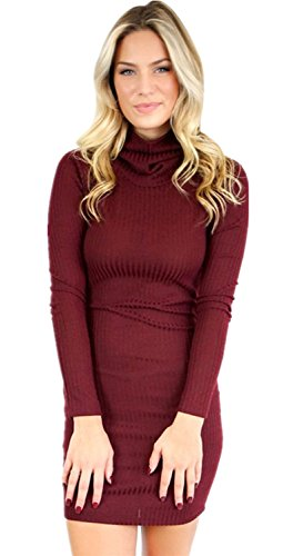 Open Back Turtleneck Dress - 8