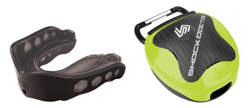 Shockdoctor Gel Max Convertible Mouthguard w Lime Case - Black - Adult (Shock Case Mouthguard Doctor)