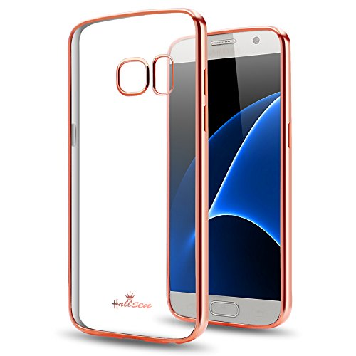 Samsung Galaxy S7 Case,Hallsen [Electroplating TPU] Transparent Ultra Slim Anti-Scratch Premium Clear Crystal Back Cover Soft Flexible TPU Case Cover for Samsung Galaxy S7 - Rose Gold