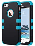 iPhone 5S Case, iPhone 5 SE Case, ULAK Anti Slip Shock Resistance Protective Cover with Hybrid High Soft Silicone + Hard PC Case for Apple iPhone 5/5S/SE (Black+Blue)