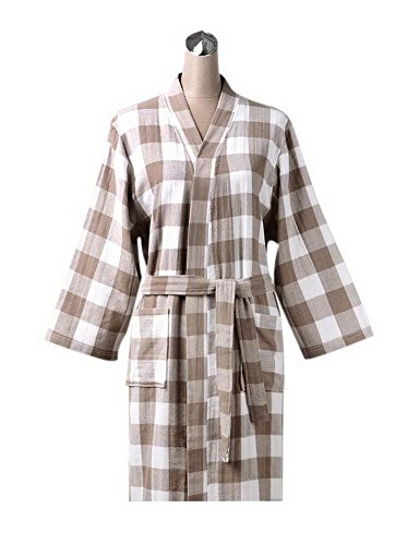 Gentle Meow Cotton Bathrobe Summer Breathable Couple Steaming Clothing, Light Coffee Checker (Handheld Checkers)