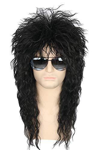 Topcosplay Mens 80s Wig Black Mullet Wigs Halloween Costume Male Wig Punk Heavy Metal Rocker Wig Curly -