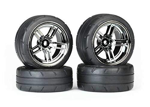 Traxxas 8375 Assembled Black Chrome Split-Spoke Wheels with 1.9'' Response Tires (Rear)