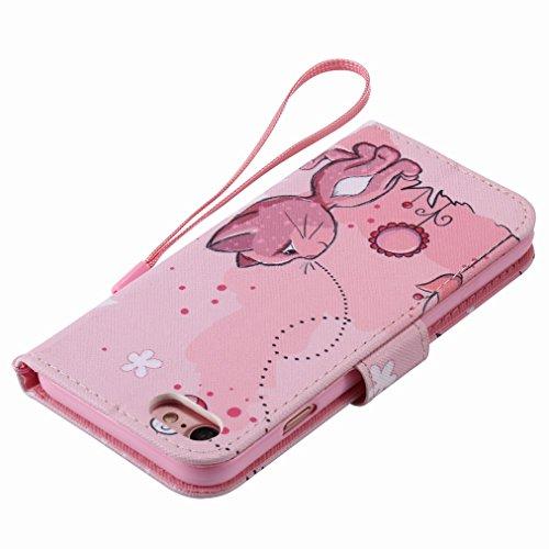 Custodia Apple iPhone 7 Cover Case, Ougger Portafoglio PU Pelle Magnetico Stand Morbido Silicone Flip Bumper Protettivo Gomma Shell Borsa Custodie con Slot per Schede, Gatto Carino