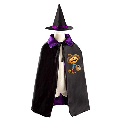 69PF-1 Halloween Cape Matching Witch Hat Pumpkin Man Wizard Cloak Masquerade Cosplay Custume Robe Kids/Boy/Girl Gift Purple