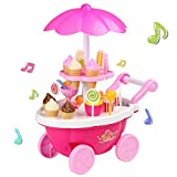 Smibie 39 PCS Ice Cream Shopping Trolley Set Toy Music Lighting Pretend Food Play Set Cake Set Toy