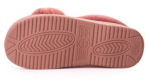 Cattior Donna Foderato Di Pelliccia Pantofole Calde Scarpe Da Donna Al Coperto Scarpe Rosse