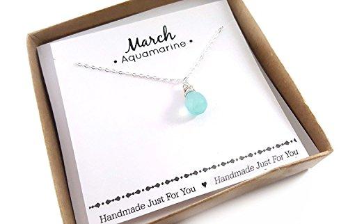 (Aquamarine Gemstone March Birthstone Necklace - Sterling Silver Briolette Teardrop Jewelry - Gift for)