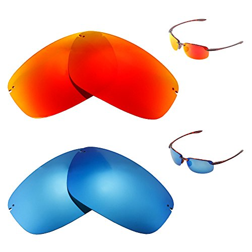Walleva Polarized Fire Red + Ice Blue Replacement Lenses For Maui Jim Ho'okipa - Maui Hookipa