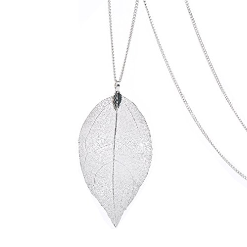 Silver Leaf Necklace (Platinum Dipped Birch Natural Leaf Pendent & Necklace with Siver-Plated Chain Women Costume Jewelry)
