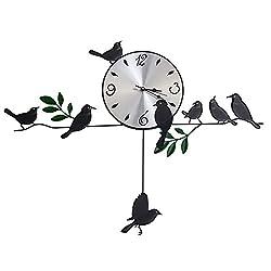Belegend 3D Wall Clock Iron Birds Pendulum Mute Quartz Clocks for Living Room Home Decoration