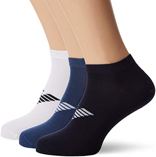 Emporio Armani Men's Plain Cotton 3-Pack Ankle Socks, white/blue/denim, Large