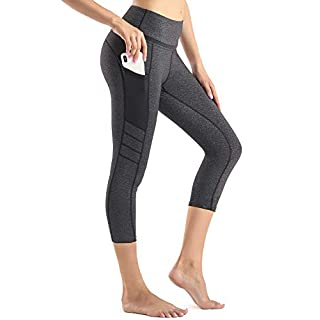 Sunzel High Waist Yoga Capris Tummy Control Workout Running Leggings Out Pocket 4 Way Stretch Yoga Pants Black/Grey