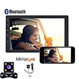 """Camecho Double Din Android 2007 Car GPS Navigation Stereo 7"""" Touch Screen Built in Bluetooth WiFi Radio Audio DVD/FM/USB/MP5 Car Player Support Mobile Phone Mirror Link + 4 Led Lights Backup Camera"""