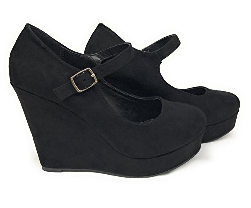 Womens Morris Mary Jane Strappy Buckle Wedge Platform Shoes (7 B(M) US, Black Nubuck Suede) (Platform Wedge Womens Shoes)
