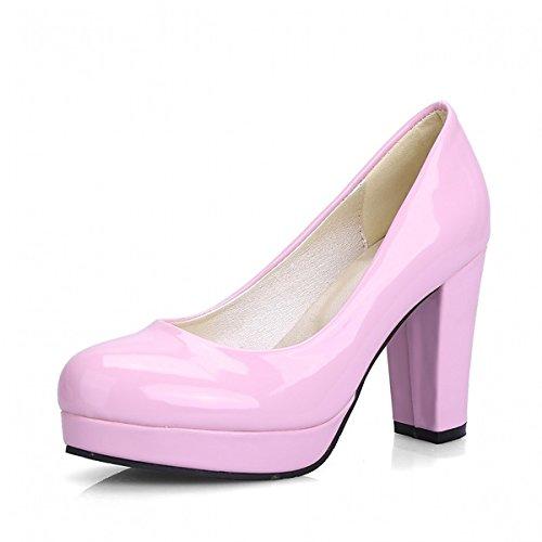 DIMAOL Chaussures Femmes de Similicuir PU Printemps Automne Nouveauté Confort Talons Talon Bout Rond à Pois pour Bureau Décontracté & Carrière Partie & amp, Violet, US6/EU36/UK4/CN36