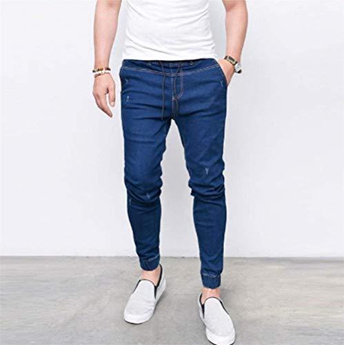 Uomo Dunkelblau1 Casual Fit Jeans Coulisse Bule Slim Grigio Da Comodo Con Pantaloni Elecstic Battercake Denim Vita Skiny Ew1nqafIfZ