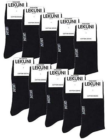 88e5731596 LK LEKUNI Chaussettes Homme Femme- Pack de 10 - Coton - Confortable et  Respirante,