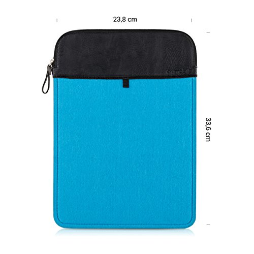 """kwmobile® Noble Laptop Sleeve Case for 11"""" 11,6"""" Laptop / Notebook / Ultrabook made of durable felt in Blue with zipper and high-quality PU leather application"""