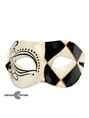 [Bauer Unisex Masquerade Mask Standard Black and Cream] (Adult Diamond Jester Costumes)