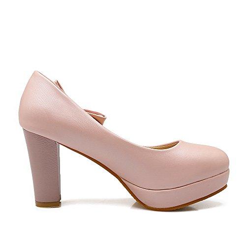 AgooLar Damen Pu Rein Ziehen Auf Rund Zehe Hoher Absatz Pumps Schuhe Pink