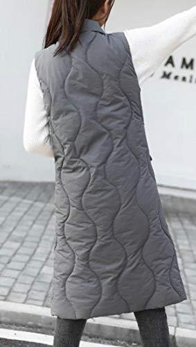 Vest Stand Dwon Gray Collar Women Thick Waistcoat amp;E H Coat Long Puffer n4wqvxRF4H