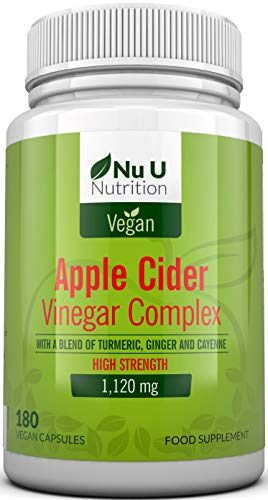 Apple Cider Vinegar - 180 Vegan Capsules not Tablets or Liquid - 1120mg Daily Dosage - Plus Added Turmeric, Cayenne and Ginger - Full 90 Day Supply - Made in The UK