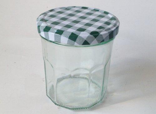 12 Wide Mouth Jam Jars & Green Gingham Lids, 324ml (10oz)
