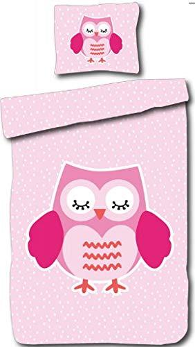 Bettwäsche Eule pink 135 x 200 cm Biber 100/% Baumwolle Kinder 2-teilig