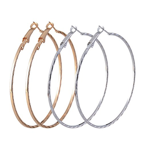 UEUC 2Pair Silver Gold Plated Twisted Round Hoop Earrings Set for Women Sensitive Ears -