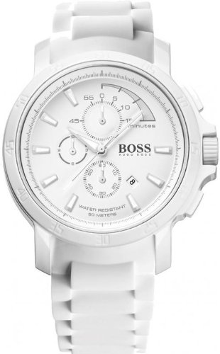 Hugo Boss White Out Chronograph White Dial White Rubber Mens Watch 1512848