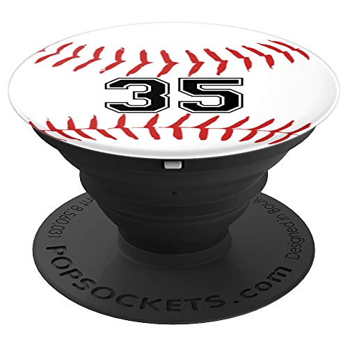 Baseball Player Jersey Number 35 - PopSockets Grip and Stand for Phones and Tablets ()