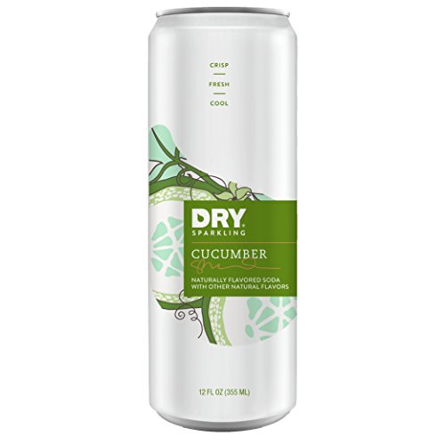 DRY Sparkling Cucumber Soda 12 oz cans, 12 Count - Lightly Sweetened with Cane Sugar, Caffeine-free, Non-GMO