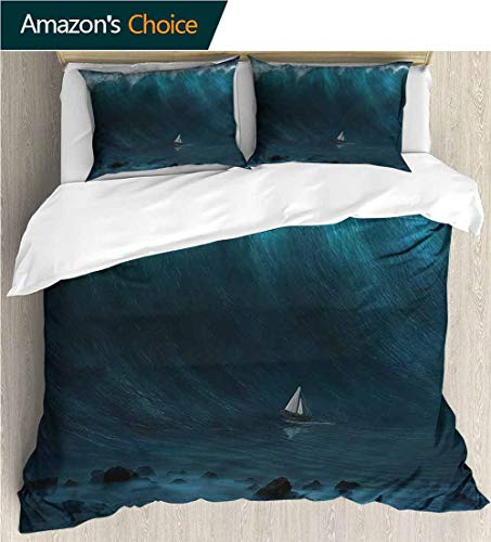 carmaxs-home Bedding Bedspread,Box Stitched,Soft,Breathable,Hypoallergenic,Fade Resistant Colorful Floral Print -3 Pieces-Ocean Small Boat and Large Wave (80