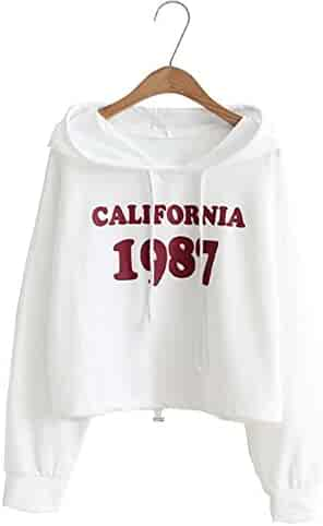 aaab7f8f0e6 Women Teen Girls's Cute Letter Printed Crop Top Hoodie Sweatshirt Long  Sleeve T Shirts Pullover Tops