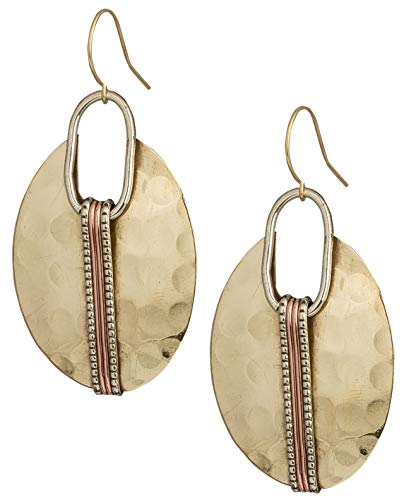 Boho Oval Gold Ethnic Hammered Earring for Women| SPUNKYsoul Collection
