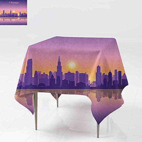 (AndyTours Square Table Cloth,Chicago Skyline,Sunset in Illinois American Horizon Behind High City Silhouettes,Party Decorations Table Cover Cloth,36x36 Inch Purple Apricot)