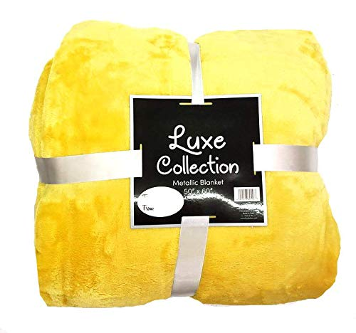 Empire Home Queen Size Velvet Blanket - SO SO Soft!!! (Bright Yellow)