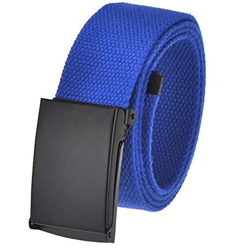 Men's Cut to Fit Golf Belt Casual Outdoor Canvas with Black Military Flip Top Buckle Large Royal Blue ()
