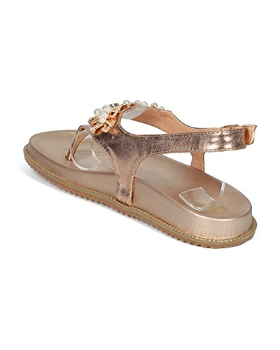 Gold Toe Footbed Media Mix Jeweled MackinJ Collection Sandal Rose HH04 by Thong Molded Open Slingback Women Alrisco t60wqfRT