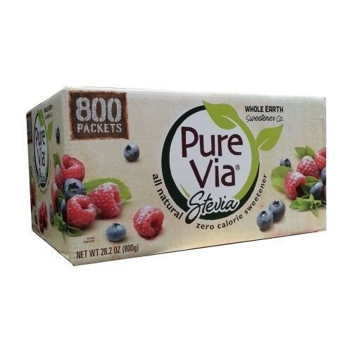 6 Wholesale Lots Pure Via Stevia All Natural Zero Calorie Sweetener, 4800 Packets Total