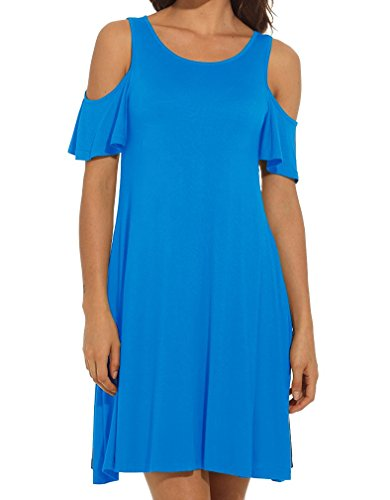 HAOMEILI Women's Cold Shoulder with Pockets Casual Swing T-Shirt Dresses (Small, Sky Blue)
